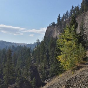 Viewpoint in Yellowstone.  Tall walls and deep valleys.