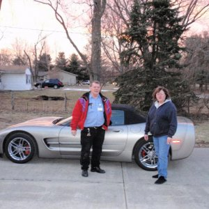 Me and my late wife the day I brought the Corvette home. Was in February and cold.